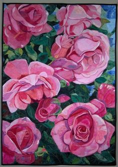 Pink roses by Melinda Bula. (I can't believe it's a quilt!)