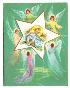 Vintage Beautiful Angel around Holy Child Star Christmas Greeting Card