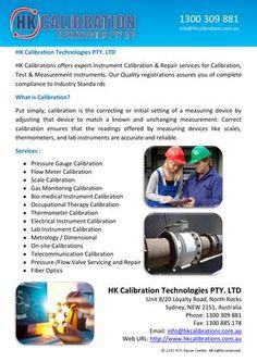 HK Calibrations offers expert Instrument Calibration & Repair services for Calibration, Test & Measurement instruments. http://issuu.com/hkcalibration/docs/hk_calibration_technologies_pty._lt_4ac37614020429