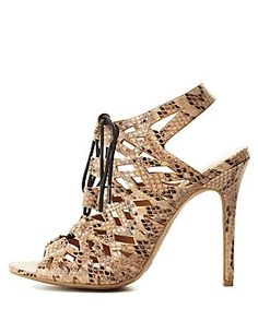 Peep Toe Python Cut-Out Lace-Up Heels... I need these! No matter WHAT!