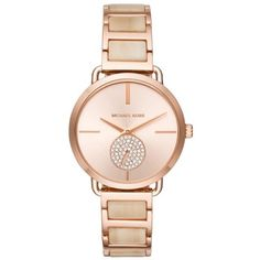 Michael Kors  Rose Gold-Tone Portia Champagne Acetate Watch ($188) ❤ liked on Polyvore featuring jewelry, watches, rose gold nrf, rose watches, champagne jewelry, michael kors jewelry, dial watches and rose gold tone watches