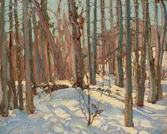 In the Woods Tom Thomson x cm oil on cardboard Purchased 1918 National Gallery of Canada (no. Winter Landscape, Landscape Art, Landscape Paintings, Landscapes, Group Of Seven Paintings, Paintings I Love, Tree Paintings, Painting Snow, Winter Painting