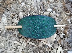 Greenish hand carved leather hair barrette  hair accessories