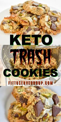 What exactly is a keto trash cookie? Well its simply a cookie recipe that uses leftover low carb items from your pantry to make a fantastic cookie that manages to balance the salty sweet combo perfectly. Ketogenic Recipes, Low Carb Recipes, Healthy Recipes, Ketogenic Diet, Radish Recipes, Healthy Sweets, Keto Cookies, Keto Postres, Keto Approved Foods