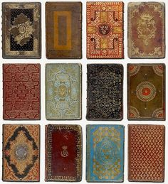 This set of gold-tooling styles on historical book covers almost look like they could be playing cards!