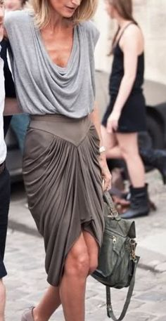 Yoke and side cowl skirt- great drape!