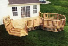 12' x 18' Leisure Deck w/12' Octagon and Grill Bump Out - Menards - I like the side stairs