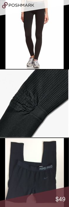 """Nike Pro Hyperwarm Limitless Running Tights Women's Nike Pro Hyperwarm Limitless Running Tights. Size medium; 12.25"""" width, 7"""" rise, 26.5"""" inseam. 76% polyester, 17% nylon, 7% spandex. """"Seamless warmth for colder weather. They feature stretchy waffle-knit fabric that holds heat in and wicks away sweat to keep you warm and dry during cold-weather workouts. Tight, supportive fit is perfect for layering, elastic waist, waffle-knit fabric for warmth, articulated knees and inseam gusset. In very…"""