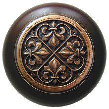 Notting Hill – Fleur-de-Lis Wood Knob in Antique Copper/Dark Walnut wood finish 1