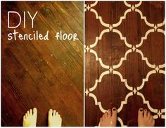 """Brand New """"We"""": DIY Stenciled Floor Using a repeating pattern stencil and some paint is a great way to help out a wood floor that is in bad shape!"""
