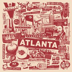 gigart on Etsy Atlanta Georgia City Silk Screen Collage Print Poster ATL MLK Falcons Braves Olympics Hip Hop - Etsy Atlanta City, Atlanta Zoo, Atlanta Georgia, Atlanta Travel, Atlanta Skyline, Atlanta Falcons, Georgia Tattoo, Atlanta Tattoo, Baile Hip Hop
