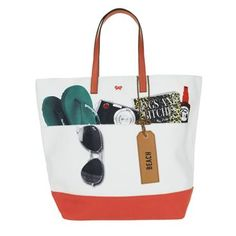 How cute is this? Perfect summer beach tote with a quirky design featuring all the summer essentials.