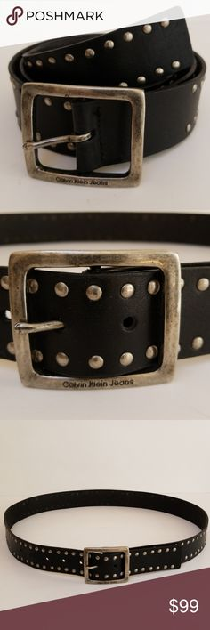 "Calvin Klein Men's Belt Calvin Klein Men's Belt. Plus Size 40"" when buckled as seen in picture, 7 holes spaced 1"" apart, silver tone studs, 2 1/4"" X 2"" silver buckle, 1 1/2"" wide. EUC Calvin Klein Accessories Belts"