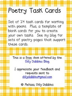 Set of 24 task cards for working with poems.  Plus, a template of blank cards for you to create your own tasks.  See my blog for sets of poetry pag...