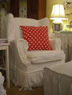 classic chenille made into pretty slip covers for a wingback chair