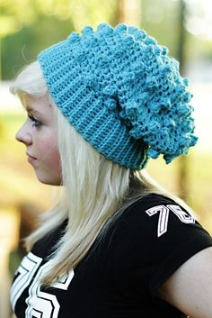 Popcorn Slouchy Hat PDF 30 by designer Innerhooker. Crochet Stitches, Crochet Hooks, Knit Crochet, Crochet Patterns, Crochet Ideas, Crochet Slouchy Hat, Knitted Hats, Slouch Hats, Crochet Crafts