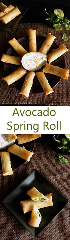 A super delicious fusion appetizer. Combines the crispy outer of an Asian spring roll to a naturally creamy avocado filling which resembles a guacamole. Indian Food Recipes, Whole Food Recipes, Veggie Recipes, Vegetarian Recipes, Cooking Recipes, Asian Appetizers, Appetizer Recipes, Yummy Food, Tasty