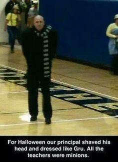 Principal shaved his head and dressed like Gru, while all the teachers dressed like minions!!!