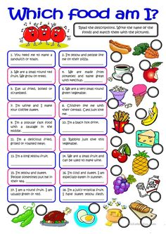 WHICH FOOD AM I? - vocabulary practice worksheet - Free ESL printable worksheets made by teachers