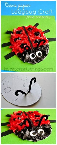 Tissue Paper Ladybug Kids Craft with free pattern printable from iheartcraftythings.com. #artsandcrafts #kidscrafts