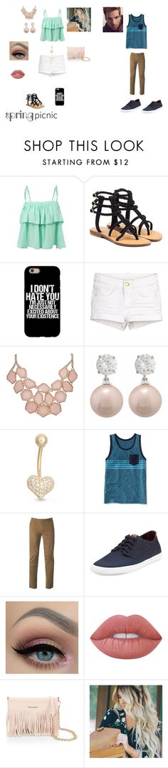 """Picnic Date"" by e-ramsey ❤ liked on Polyvore featuring LE3NO, Mystique, Gioelli Designs, Old Navy, Ted Baker, Ben Sherman, Lime Crime, Rebecca Minkoff, Sebastian Professional and springpicnic"