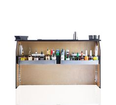 Our 6' custom mobile bar fully equipped with a service shelf, two drop-in ice bins and liquor speed rails.  Rent a bar for your special event.