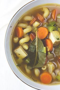 Chickenless Chicken Soup -Ingredients, Oil, Thyme, Bay Leaf, Onion, Veggie Broth, Pepper, Carrots, Pasta, Baked Tofu (or regular Extra Firm)