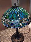 """For Sale - Tiffany Style Stained Glass DRAGONFLY 14"""" Lamp Shade and Mosaic Base"""