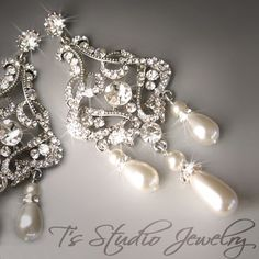 Pearl Chandelier Bridal Earrings Long Dangling Crystal Rhinestone Romantic Silver Wedding Jewelry - DENISE Earings. $68.00, via Etsy. Too bad I already bought earrings