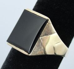 Vintage Onyx and Gold Ring, Large Rectangular Stone for Men or Ladies RGOX202D