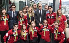 Prince William Photos Photos - Canadian Prime Minister Justin Trudeau (2nd L)  and Prince William, Duke of Cambridge (C) pose with members of the Canadian Olympic team at the Young Canadians reception and celebration at the Telus Gardens during the Royal Tour of Canada on September 25, 2016 in Vancouver, Canada. - 2016 Royal Tour to Canada of the Duke and Duchess of Cambridge - Vancouver, British Columbia