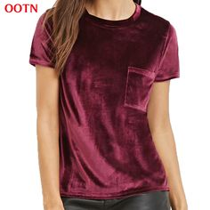 OOTN summer cotton velvet pocket women short T-shirt tops shirt tee t shirt o-neck women velvet top wine burgundy