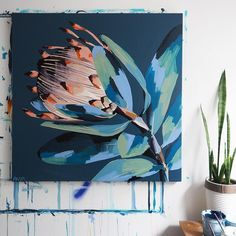 Inner Awareness Canvas Print In Art Proteas Art - Pre Order This Print Will Be Shipped On The Th October The Original Painting Pictured Will Be Photographed For Reproduction To Ensure All The Paintings Intricacies Are Retain Arte Floral, Abstract Flowers, Abstract Art, Abstract Flower Paintings, Art Flowers, Flower Artwork, Diy Artwork, Artwork Ideas, Modern Artwork