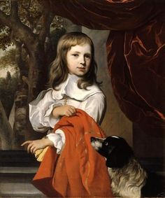 A Young Boy With Dog,  by Jacob van Loo (1614 – 1670, Dutch)