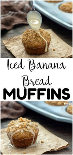 These easy iced banana bread muffins are wonderful for breakfast or snacks, especially if you have hungry kids! Whip up these banana muffins in just a few minutes! #lookwelearn #breakfastrecipes #breakfastforkids #kidsrecipes #muffinrecipes