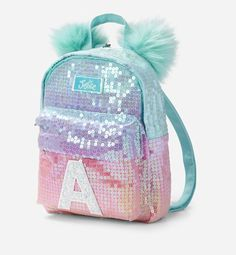 "Justice Girls Ombre Initial Mini Pom Pom Backpack ""A"" Cute Mini Backpacks, Little Backpacks, Girl Backpacks, Justice Backpacks, Justice Bags, Justice Stuff, Sequin Backpack, Backpack Purse, School Accessories"