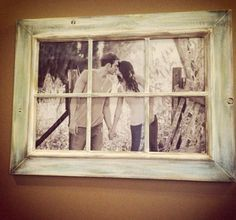 Old window frame over picture do this with the tractor pic for our bedroom