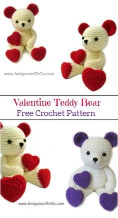 amigurumi amigurumi boneca Free Crochet Bear Patterns A Teddy Bear Patterns Free, Crochet Bear Patterns, Amigurumi Patterns, Crochet Teddy Bears, Cat Amigurumi, Heart Patterns, Crochet Animals, Cute Crochet, Crochet Dolls