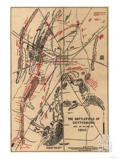 Battle of Gettysburg - Civil War Panoramic Map Print at Art.com