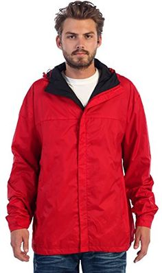 Gioberti Men's Waterproof Rain Jacket  100% Polyester Rain Jacket developed with the latest waterproof technology that wicks away moisture on contact to ensure that you are left dry in wet weather / rainy days  Fully sealed seams to lock out the rain from entering the jacket along with a fully meshed lining on the inside to provide breathability and comfort that allows excess heat and vaper to escape during your daily activities  Velcro Seal flap overlapping the front zipper to secure ...