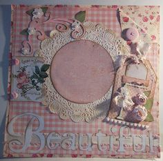 12 x12 Premade Scrapbook Page Shabby Chic Pink Gingham, Roses and Lace Beautiful Daughter, Mother, Wedding, Prom