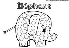 Coloriage éléphant  à gommettes                                                                                                                                                                                 Plus