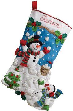Bucilla Snow Fun Christmas Stocking Felt Applique Kit - 123Stitch.com