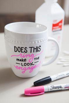 DIY Sharpie Paint Pen - Engagement Gift Mug  engagement ideas