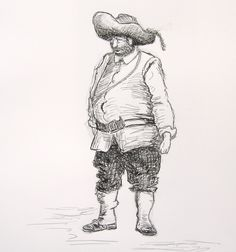 """Sancho Panza"" by Peter Swift (after Dore). Ink on paper (14 x 11 inches, or 36 x 28 cm)."