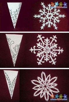 Super beautiful snowflake Christmas decoration paper-cut DIY  종이로 눈꽃 만들기!