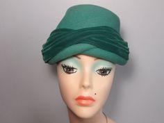 1950s Vintage Aqua Green Felt Hat Tilt Topper Pixie Hat by Rorevie, £30.00 #vintage hats#vintage green hat