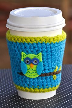 Coffee Cozy/Coffe Sleeve  Blue With Green Owl by SimplyEverydayMe, $5.00