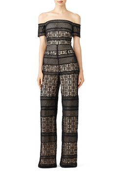 a88148e17424 Bicolor Lace Jumpsuit by ML Monique Lhuillier Lace Jumpsuit