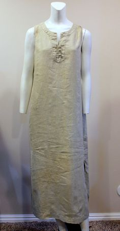 J. Jill Medium Petite Beige Linen Long Casual Tank Dress #JJill #Sheath #Casual